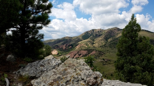 Rock ledge on the Dakota Ridge trail looking at Red rocks Park