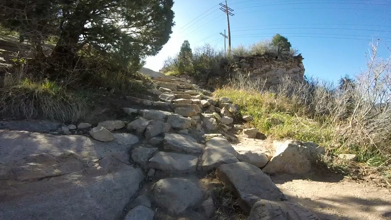Rock steps on Lyons Back trail in South Valley Park