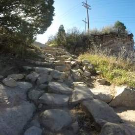 Rock steps on a trail in South Valley Park