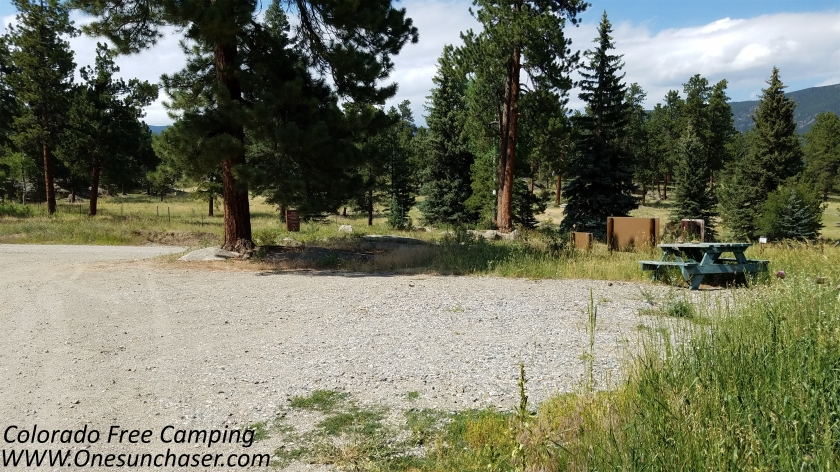 This is one of the free campsites at mount evans state wildlife area, featured in Colorado Free Camping.