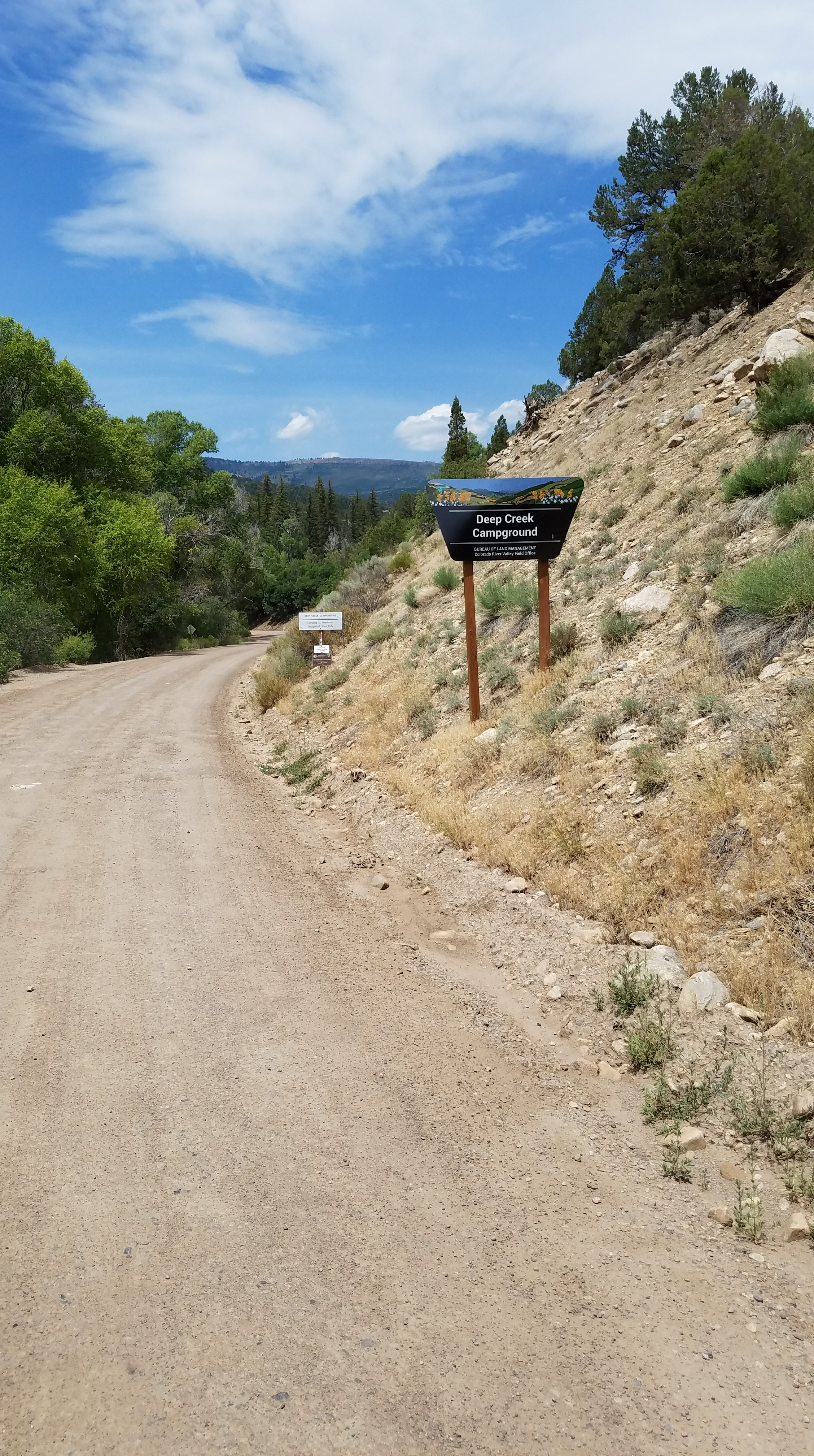 Road leading to the Deep Creek camping area.