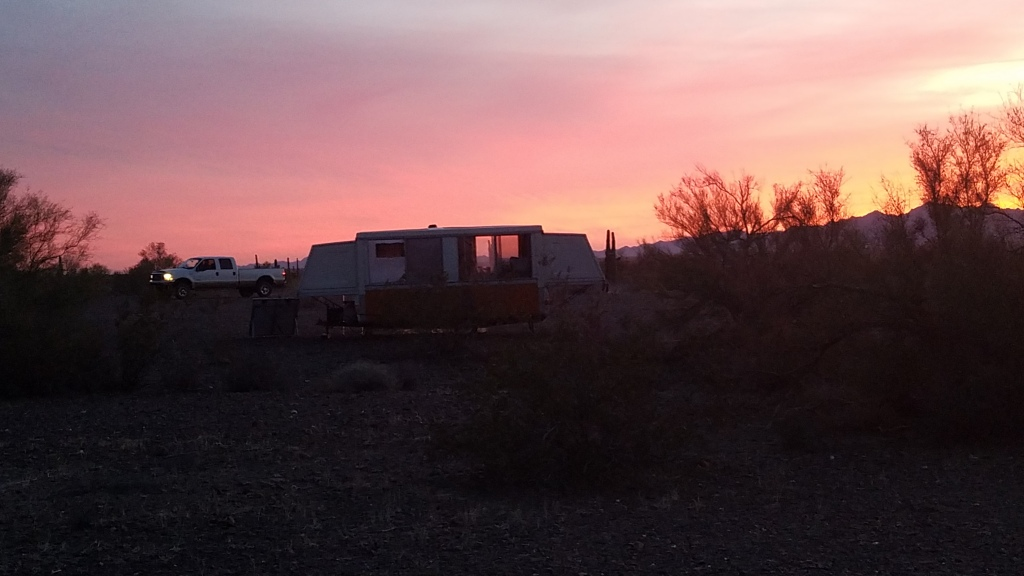 Camper enjoying a beautiful Arizona sunset
