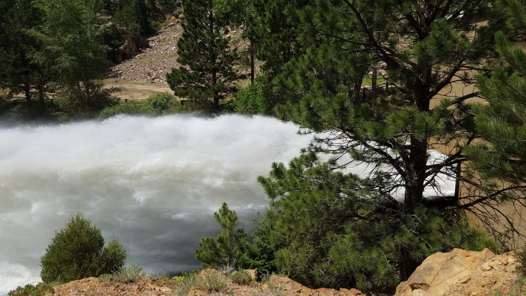 Water release from Ralph Price Reservoir into the North Saint Vrain River