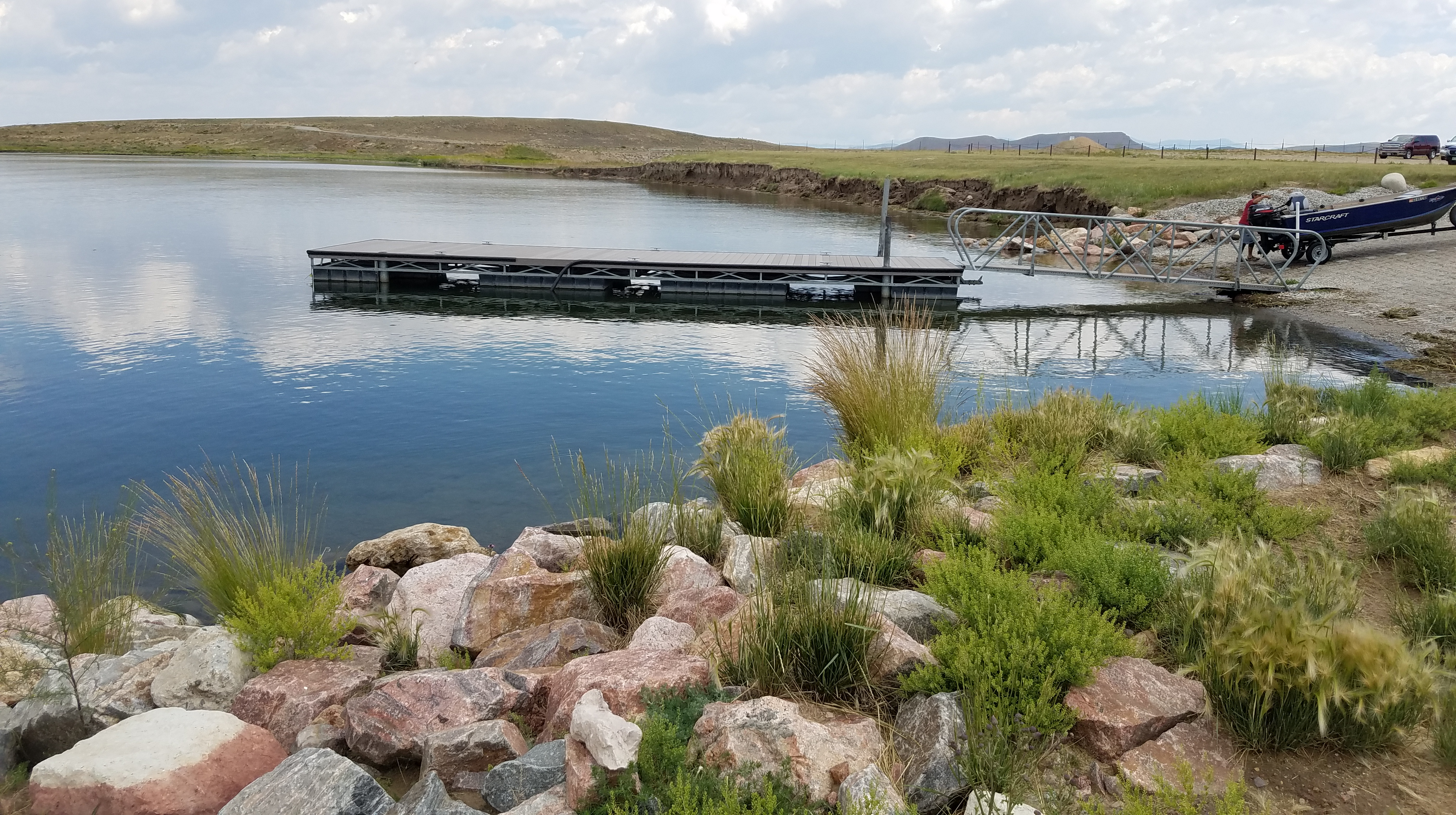 Dock at Antero Reservoir south of the free campsites