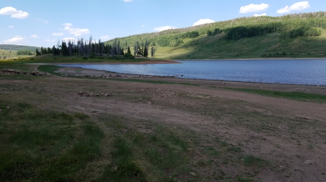 View of Red Dirt Reservoir and a couple of the free campsites near Kremmling Colorado