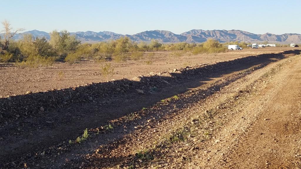 Mountain peaks beyond free camping north of Quartzsite Arizona