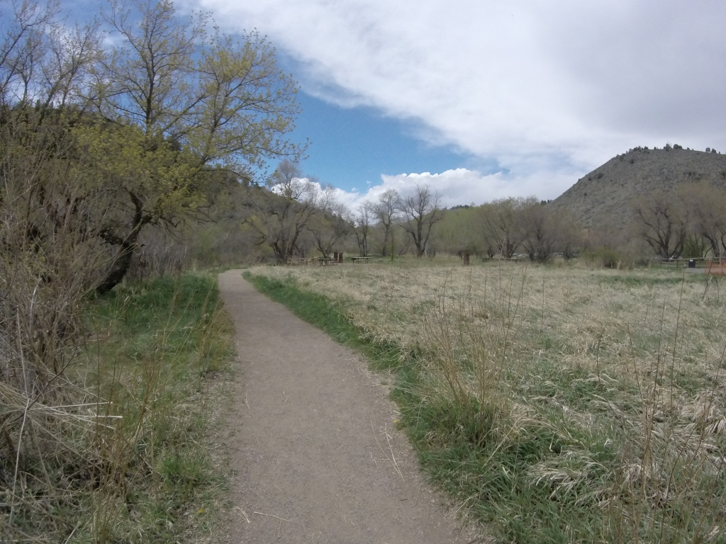 Trail that runs between Bear Creek River and the Parking lot for the Lair O' The Bear Park