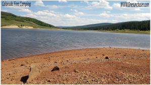 Looking across Red Dirt Reservoir near free Colorado Camping