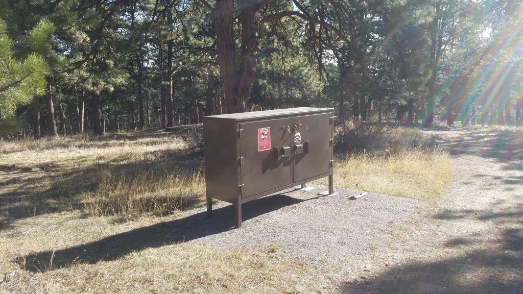 Bear Box near free campground in White Ranch Park