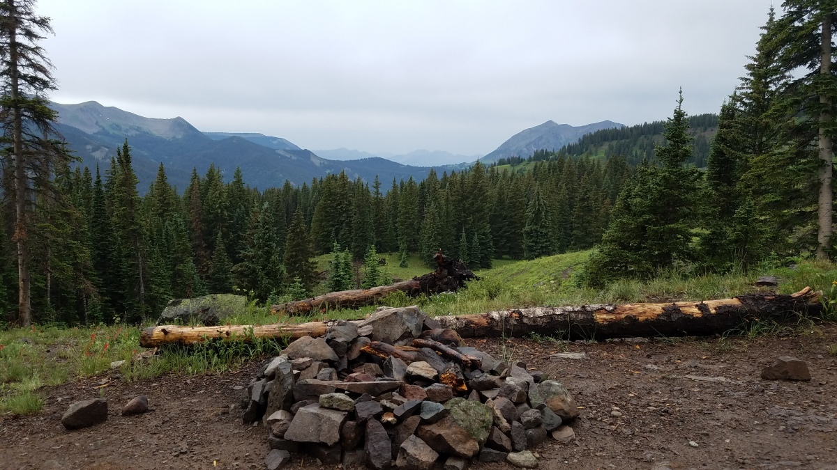 Fire ring at free dispersed campsite Lake Irwin near Crested Butte Colorado