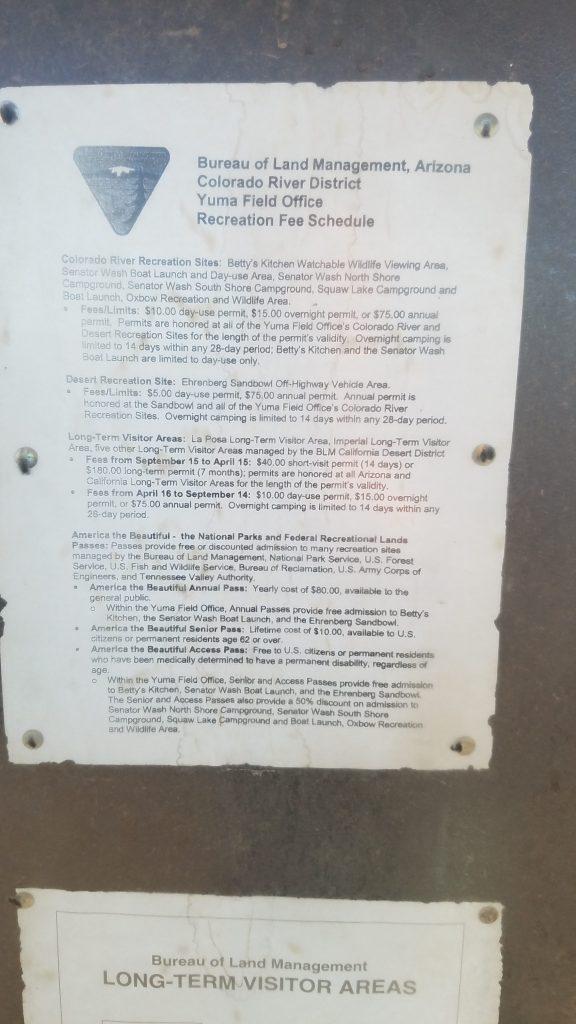 Regulations sign at Plomosa Road