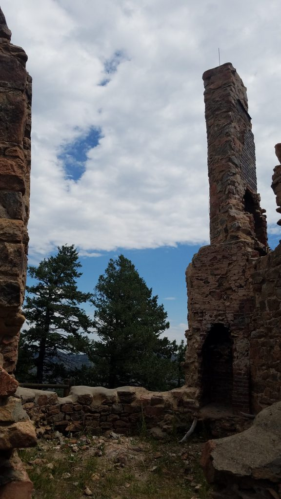 Chimney of castle ruins in Mount Falcon Park