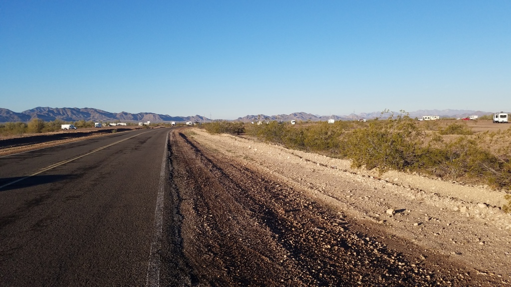 View of road and free 14 day camping off Plomosa Road.