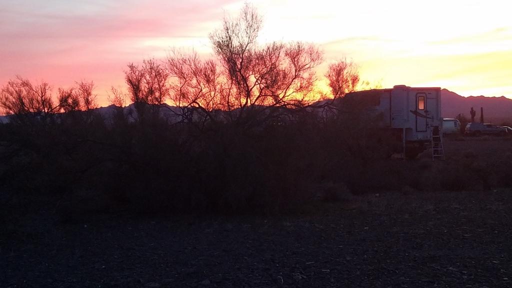 Sunset near Quartzsite Arizona from BLM land