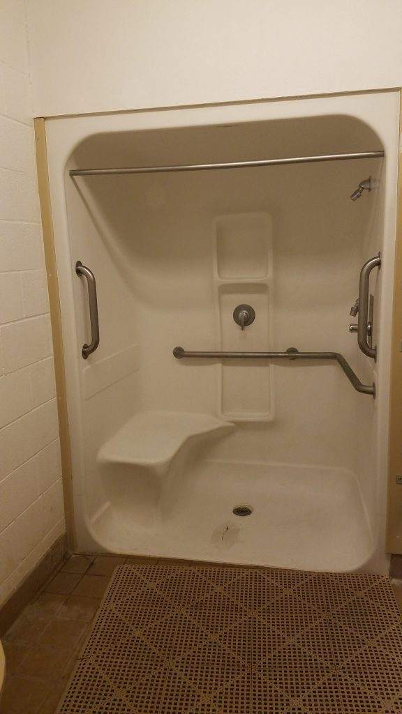 Handicap shower available at Caballo Lake State Park