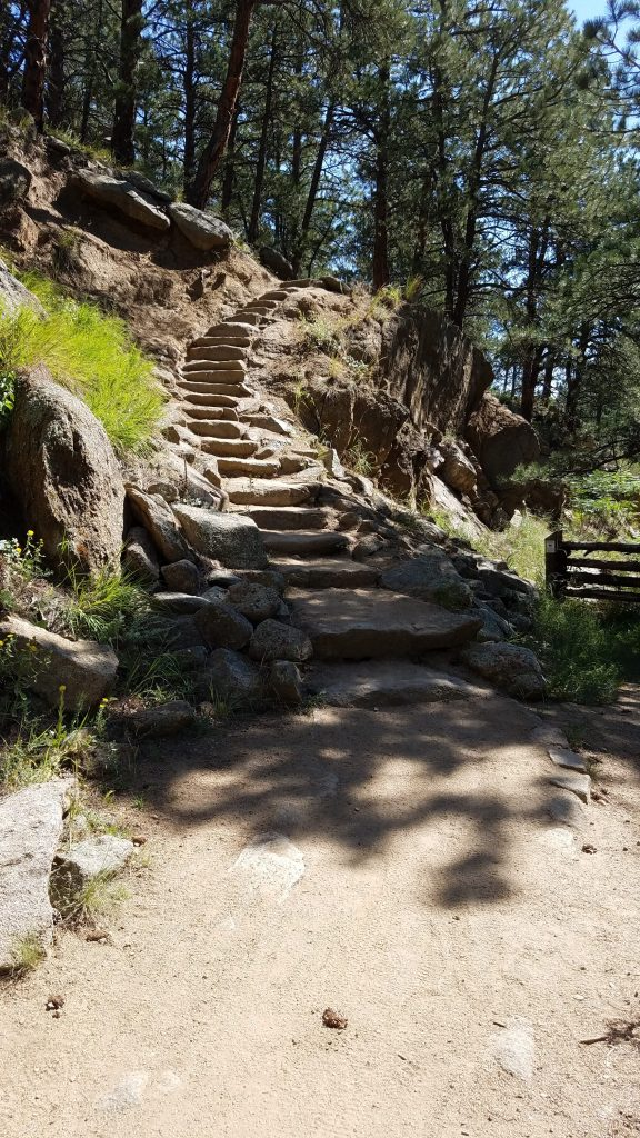 Stone steps leading to the road in Betasso Preserve