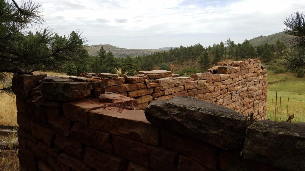 Looking over stacked stone wall in Heil Ranch