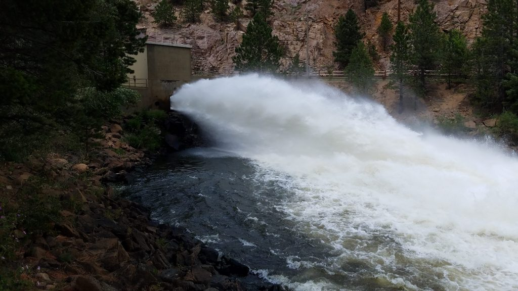 Water discharge from Ralph Price Reservoir